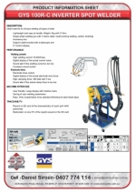 GYS 100RC INVERTER SPOT WELDER