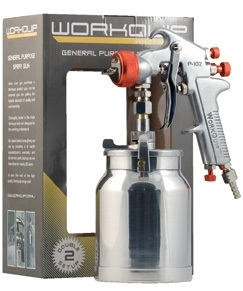 Workquip Suction Feed Spray Gun - with 2 nozzle sizes
