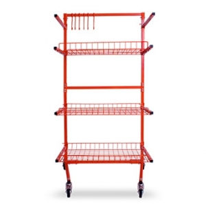 VELOCITY MULTI-LEVEL PARTS CART WITH 6 POWDER COATED ADJUSTABLE HOOKS