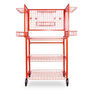 VELOCITY MULTI-LEVEL PARTS CART AND 6 PCS ADJUSTABLE HOOK SHELVES.  PC.V0306